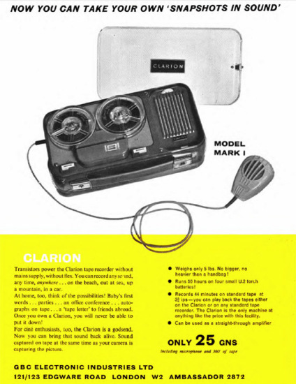 The audio snapshot use is promoted in this ad from Jone 1960 Tape recorder (this machine was a battery protable, i nall fairness!)