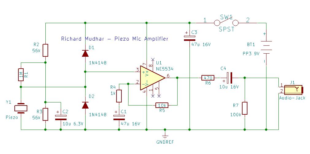 piezo guitar jack wiring diagram piezo contact microphone hi z amplifier     low noise version  piezo contact microphone hi z amplifier